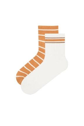 Penti Beyaz Sarı Cool Pumpkin 2li Soket Çorap