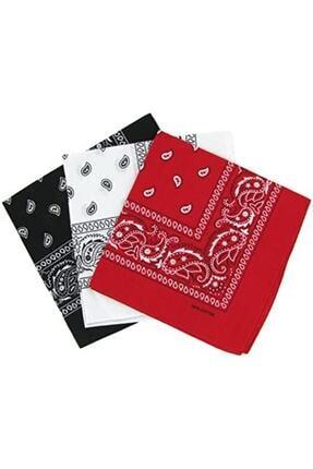 Petit Store Kadın Siyah Beyaz Kırmızı Bandana 3 Adet