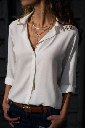 Trendcim Kadın Basic Standart Kalıp Dokuma Viskoz Kumaş Gömlek Bluz