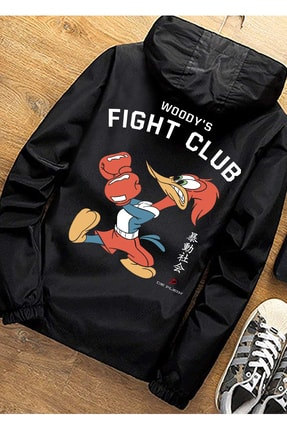 DE PLEIN Unisex Fight Club Siyah Su Geçirmez Spor Mont