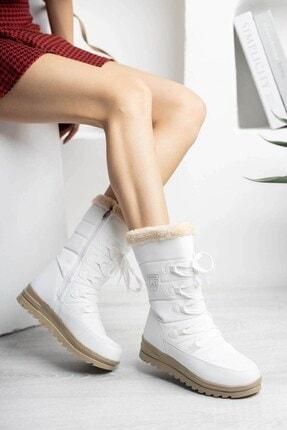 Twingo Kadın Beyaz Termal Kürklü Kışlık Karbotu Ayakkabı 995