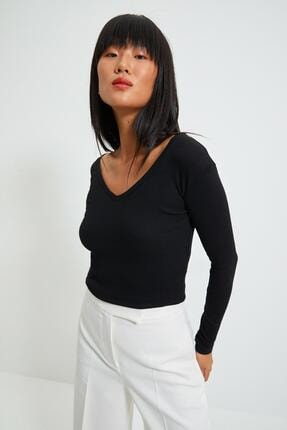 Asfa Moda Kadın V Yaka Crop Örme Bluz