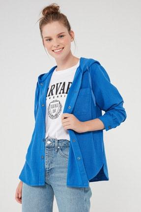 Mavi Kadın Kapüşonlu Mavi Gömlek 122844-34933