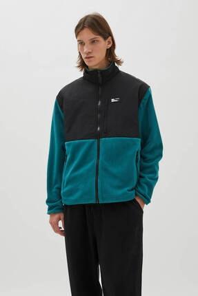 Pull & Bear Kontrast Kumaş Polar Ceket