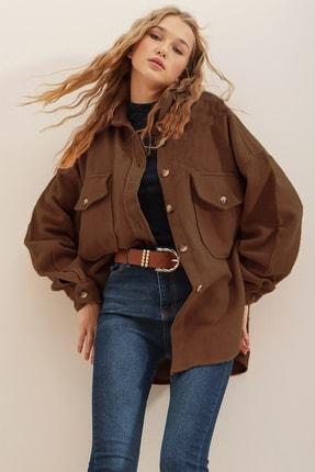 Trend Alaçatı Stili Kadın Kahverengi Kaşe Pamuklu Oversize Ceket Gömlek ALC-X7143