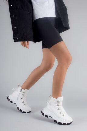 yesh Tamos Kadın Mat Deri Kalın Taban Su Geçirmez Bağcıklı Spor Bot Beyaz