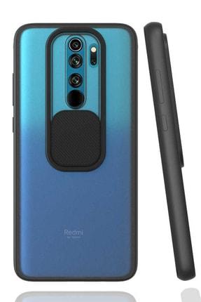 Teknoçeri Xiaomi Redmi Note 8 Pro Uyumlu Kamera Lens Korumalı Sürgülü Kılıf Siyah