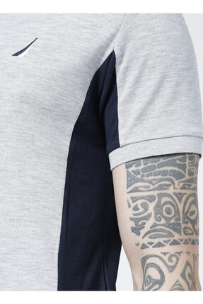 Nautica Gri Polo Yaka Çizgili T-shirt
