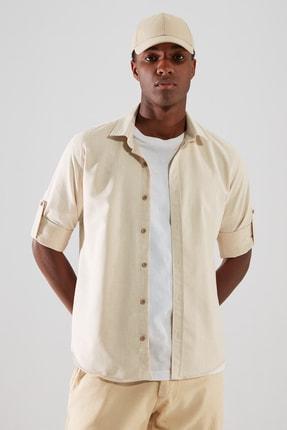 TRENDYOL MAN Vizon Erkek Slim Fit Gömlek Yaka Uzun Kollu Apoletli Gömlek TMNAW22GO0364