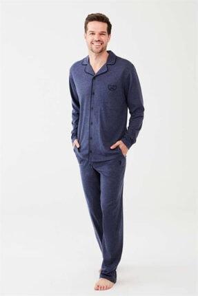 U.S. Polo Assn. Boydan Düğmeli Lacivert Erkek Pijama Takım