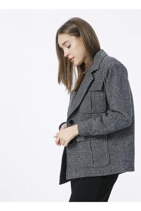 Fabrika Ceket Yaka Basic Kaz Ayağı Antrasit Kadın Kaban