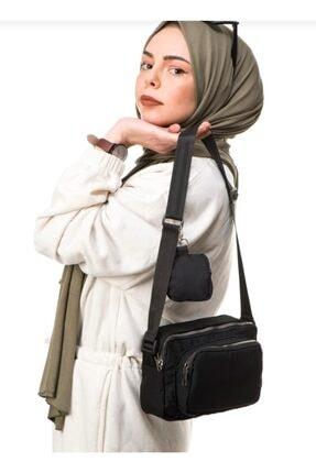 çantamsende Kadın Cüzdan Detaylı Omuz Çantası Siyah