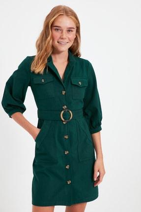 TRENDYOLMİLLA Haki Kemerli Gömlek Elbise TWOAW20EL1156