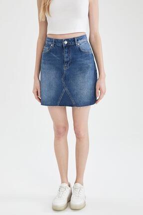 DeFacto Kadın Mavi Fashion Fit Jean Etek L3592AZ.19AU.NM39