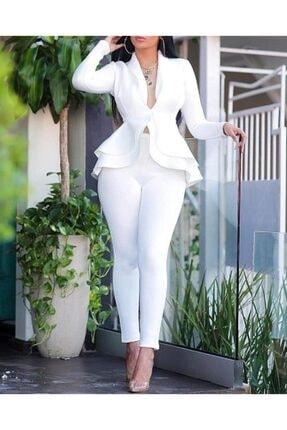 Rosy Beyaz Şal Yaka Eteği Çift Kat Kloş Tek Ceket