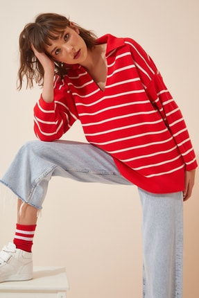Happiness İst. Kadın Kırmızı Polo Yaka Oversize Triko Kazak  US00703