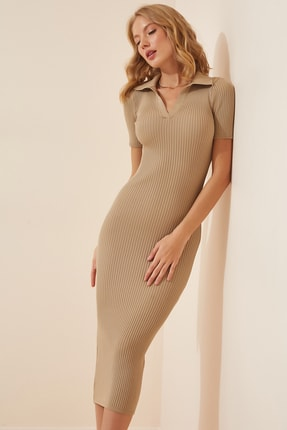Happiness İst. Kadın Vizon Polo Yaka Triko Elbise  FN02910