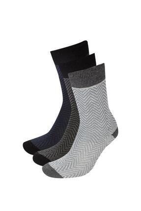 DeFacto Erkek Çok Renkli Pamuk 3'Lü Soket Çorap V4929AZ21WNKR