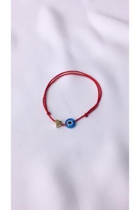 otto bijuteri Kırmızı Kalp Nazar Boncuklu Ip Bileklik