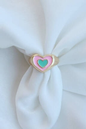 Niki Aksesuar Pembe Mavi Ayarlamalı Mineli Iç Içe Kalp Yüzük
