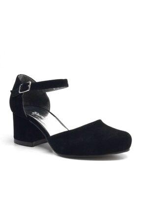 Sarıkaya Siyah Süet Kalın Topuklu Kız Çocuk Topuklu Ayakkabı