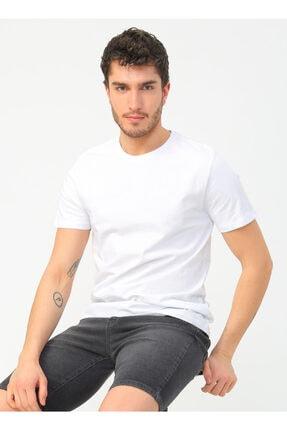LİMON COMPANY Limon Erkek Pamuklu Bisiklet Yaka Beyazt-shirt