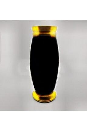 SIGMA GLASS Lüx Gold Yaldızlı Siyah Vazo