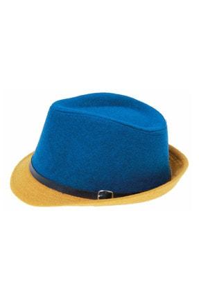 Bay Şapkacı Kadın Çift Renk Kaşe Fötr Şapka 4792 Mavi