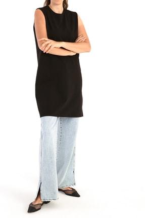 ALLDAY Siyah Yaka Biyeli Kolsuz Basic Tunik