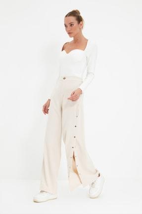 TRENDYOLMİLLA Taş Yanları Çıtçıtlı Geniş Paça Pantolon TWOSS20PL0398