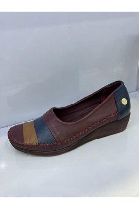 Mammamia D17ya 415 Hakiki Deri Bordo Dolgu Topuk Kadın Günlük Ortopedik Ayakkabı