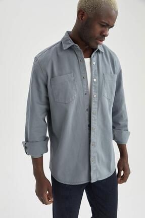 DeFacto Erkek Gri Uzun Kollu Regular Fit Pamuklu Gömlek Ceket R5022AZ20AUGR