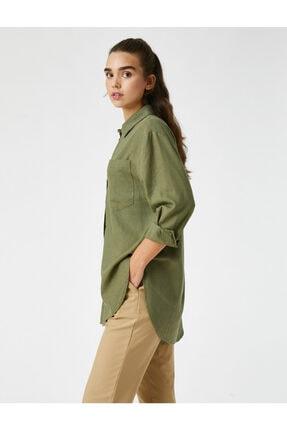 Koton Oversize Keten Gömlek Uzun Kollu