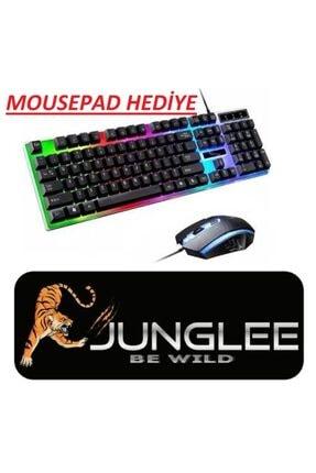 JUNGLEE Kablolu Led Işıklı Oyuncu Klavye & Mouse Seti Usb Girişli Gaming Set