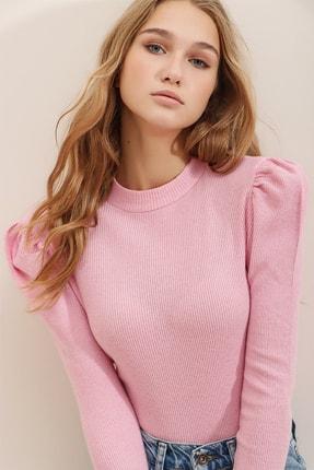 Trend Alaçatı Stili Kadın Açık Pembe Prenses Kol Yarım Balıkçı Kaşkorse Bluz ALC-X5042