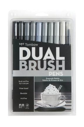 Tombow Dual Brush Pen 10 Renk Set Grayscale