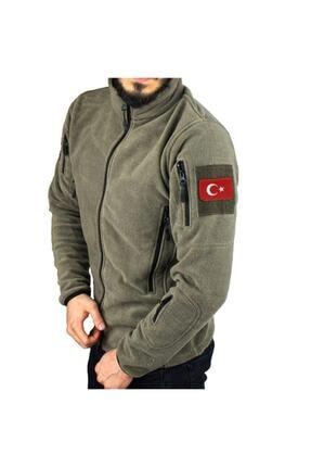 Silyon Askeri Giyim Haki Taktik Polar Mont 5 Cepli Ve Türk Bayrağı Peç