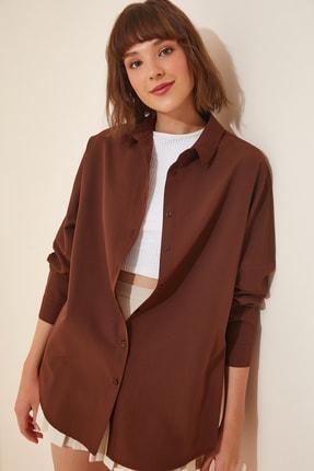 Happiness İst. Kadın Çikolata Oversize Uzun Basic Gömlek  DD00842