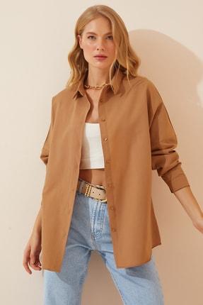 Happiness İst. Kadın Camel Oversize Uzun Basic Gömlek  DD00842