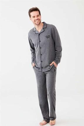 U.S. Polo Assn. Boydan Düğmeli Antrasit Erkek Pijama Takım