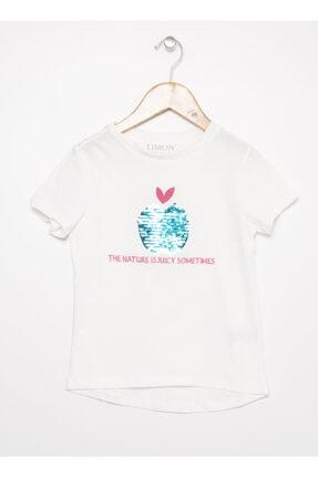 LİMON COMPANY Kız Çocuk Ekru Baskılı Tişört