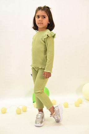 LUESS Kız Çocuk Fitilli Fırfır Detaylı Fıstık Yeşili Alt Üst Takım