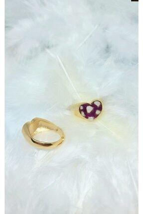 WONDER TOUCH 24k Altın Kaplama Leopar Desen Kalp Yüzük,sedefli Mor Ve Sedef Renkli Ayarlanabilir Yüzük