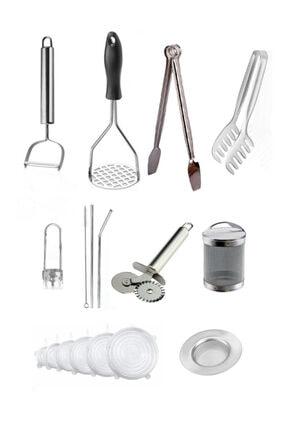 ZUZU MADE 10 Adet Pratik Mutfak Seti - Soyacak-oyacak, Patates Ezici, Maşa, Pipet, Süzgeç, Rulet, Streç Kapak