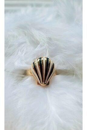 WONDER TOUCH 24k Altın Kaplama Istiridye Kabuğu Yüzük,siyah Beyaz Renk Mineli ,ayarlanabilir Yüzük