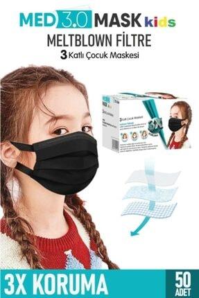 MED3.0 MASK Yeni Nesil Elastik Kulakçıklı Meltblown Filtreli Medikal (CERRAHİ) Çocuk Maskesi-siyah
