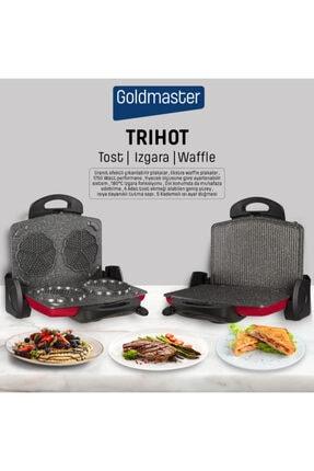 GOLDMASTER Trihot 3in1 Granit Çıkarılabilir Plaka Waffle ,ızgara, Kırmızı Tost Makinesi 6 Dilim
