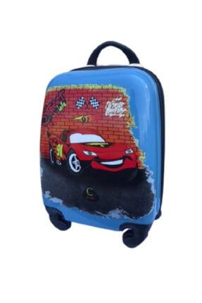 ENASHOP Çocuk Valizi Seyahat Çantası Mcqueen Orta Boy Mavi Renk