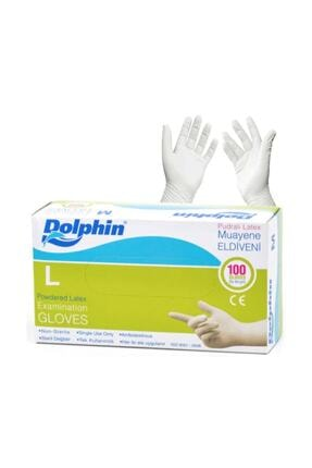 Dolphin Latex Pudralı Eldiven - Tıbbi Medikal Muayene Lateks Eldiven 100'lü Paket - L Beden
