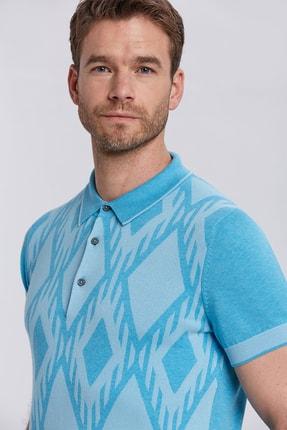 Hemington Erkek Turkuaz Baklava Desenli Triko Polo Yaka T-shirt